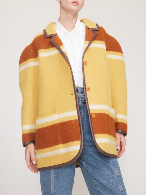 Striped Felt Coat