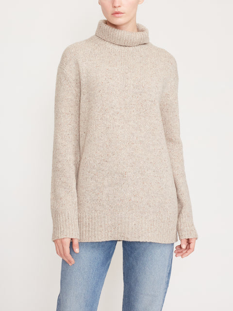 Turtleneck Tweed Knit Sweater