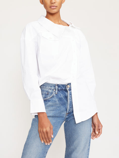Dillon Asymmetrical Button Poplin Shirt