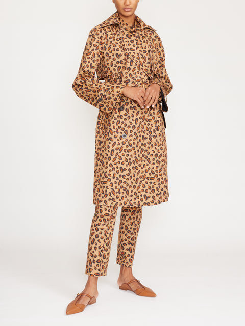 Layered Leopard Trench Coat