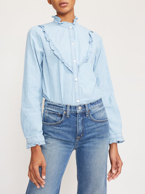 Marcela Ruffle-Trim Denim Shirt,Nili Lotan,- Fivestory New York