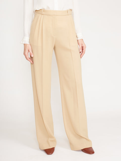 Wool Crepe Pleated Wideleg Trouser