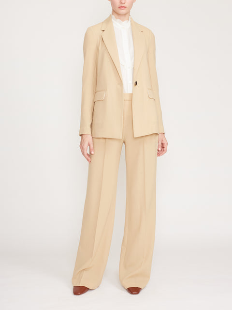 Wool Crepe Straight Blazer