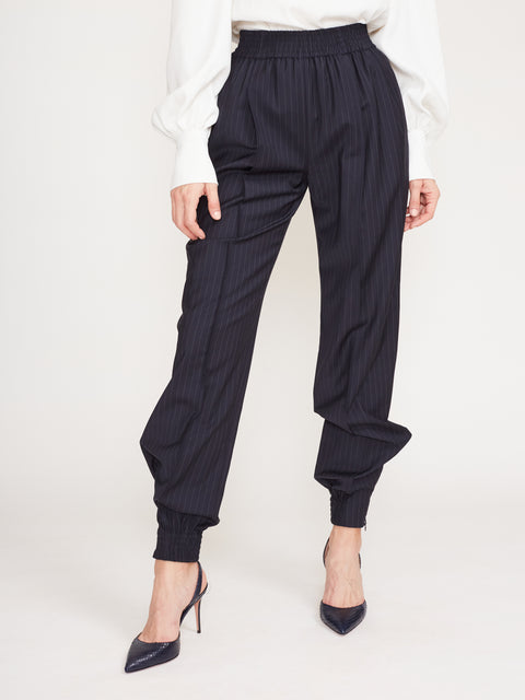 Striped Suiting Pleated Jogger
