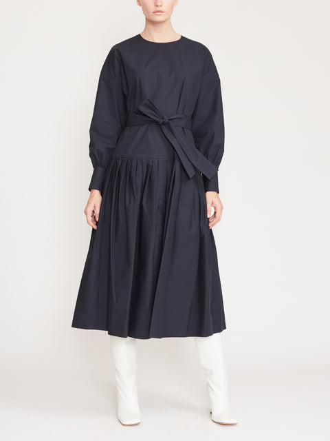 Long Sleeve Cotton Poplin Belted Midi Dress