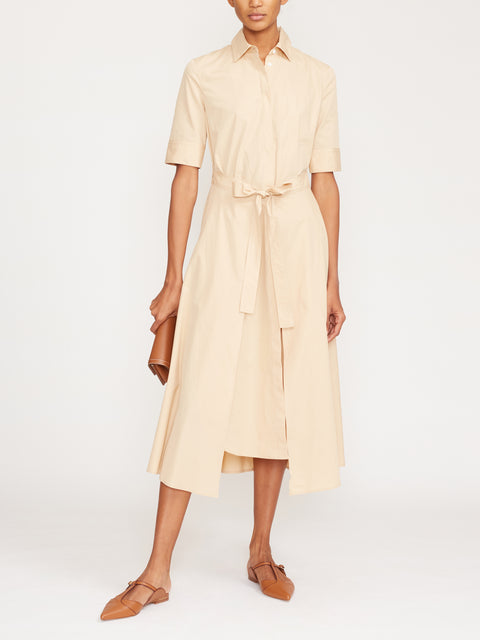 Short Sleeve Apron Wrap Midi Dress