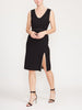 Sleeveless Lurex Tweed Pearl Trim Midi Dress With Slit