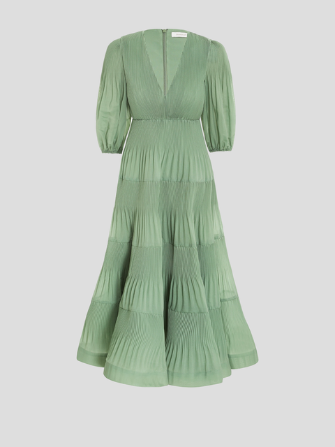Pleated Green Midi Dress