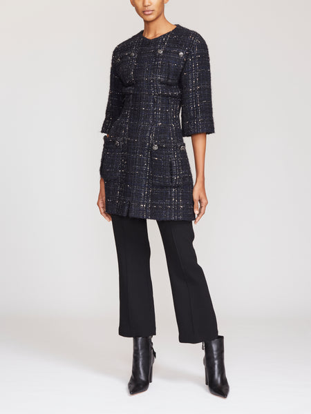 Chanel Mid-Sleeve Tweed Coat FR38