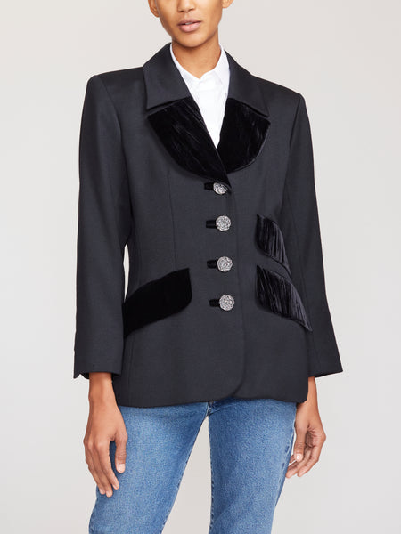 Yves Saint Laurent Velvet-Trim Blazer IT40