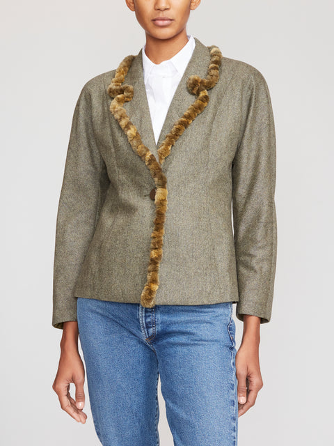 Fendi Fur-Trim Wool Blazer IT42