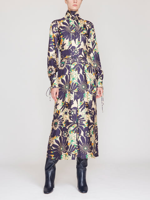 Floral Long Sleeve Midi Dress With Neck Tie