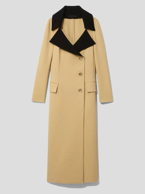 Stretch Suiting Contrast-Lapel Coat