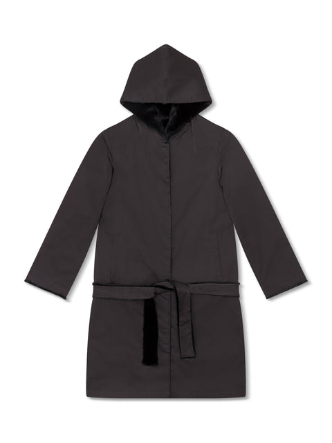 Reversible Nylon and Rabbit Coat