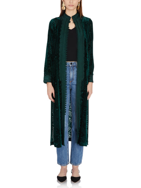 Long Velvet Burnout Jacket in Green
