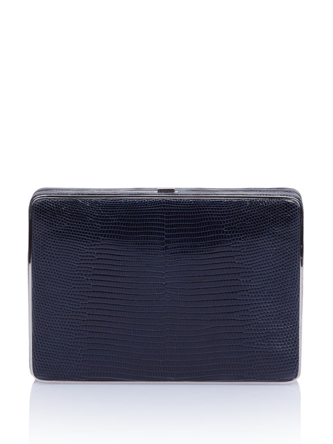 Square Compact Navy Lizard Clutch