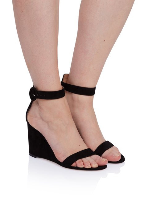 Portofino Black Suede Wedge