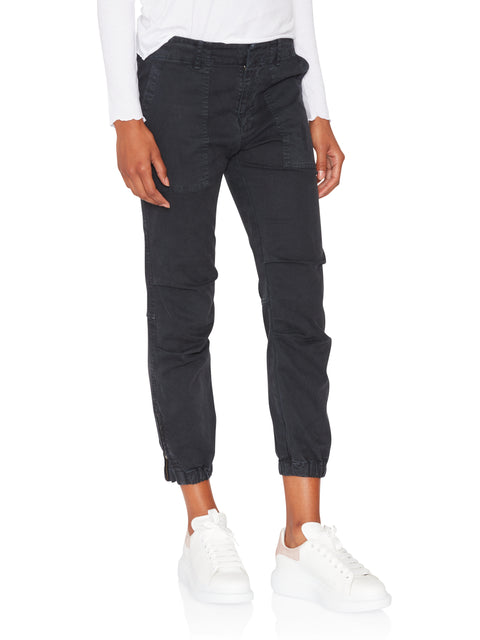 Navy Cropped Military Pant