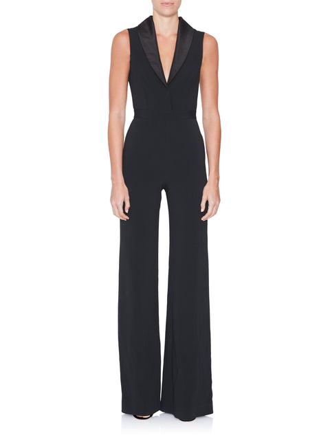 Sleeveless Shawl Collar Jumpsuit