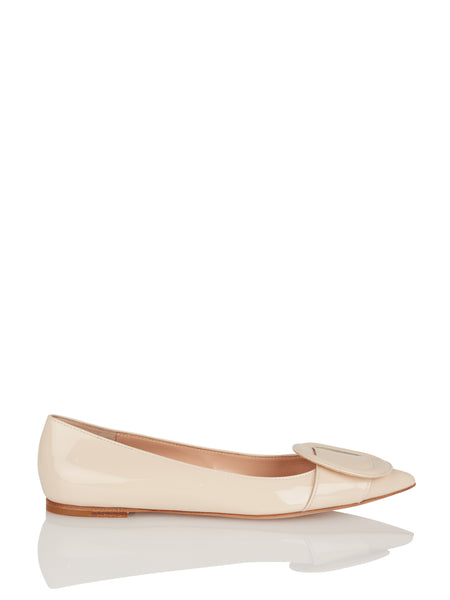 Circle Detail Cream Flat,Gianvito Rossi,- Fivestory New York