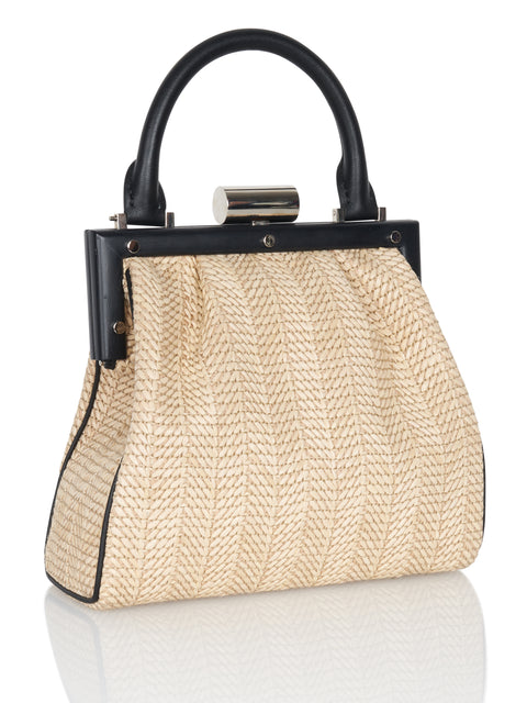 La Mini Attelage Leather and Raffia Handbag