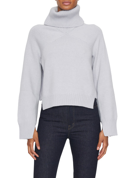Cropped Panel Turtleneck Sweater