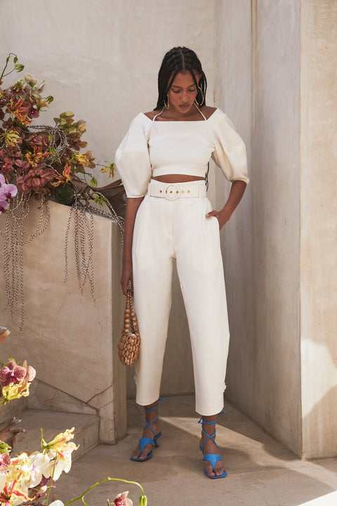 Derah Cropped Pants With Belt