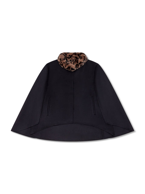 Cashmere Cape With Leopard-Print Rabbit Fur Collar