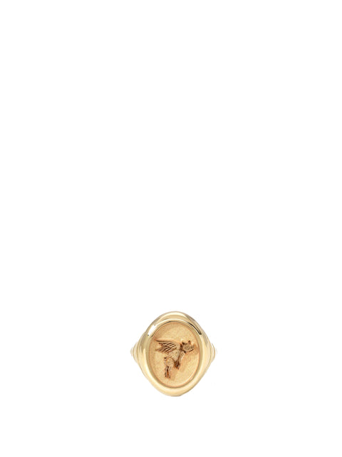 Grandfather Fantasy Flying Pig Signet Ring