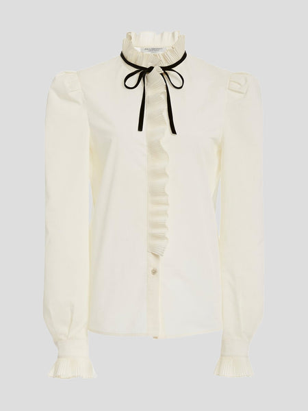Ruffle Trim Shirt With Velvet Ribbon