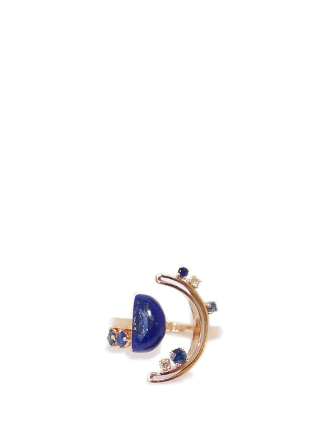 Yellow Gold, Diamond and Lapis Span Ring