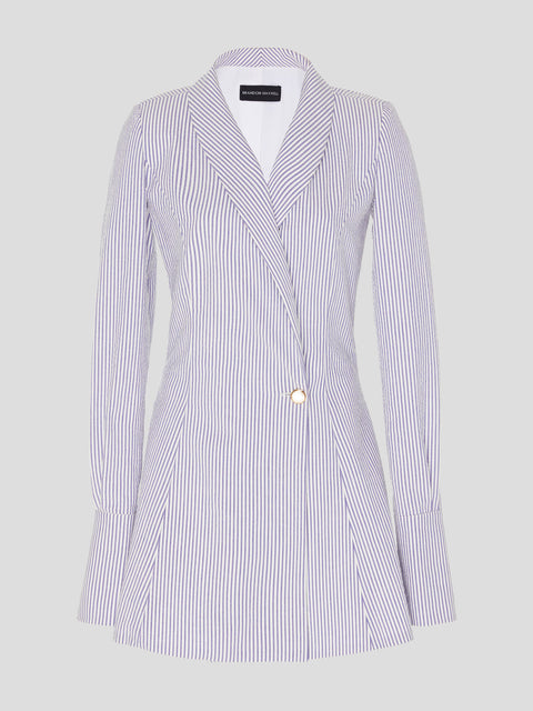 Seersucker Shawl-Collar Blazer Dress