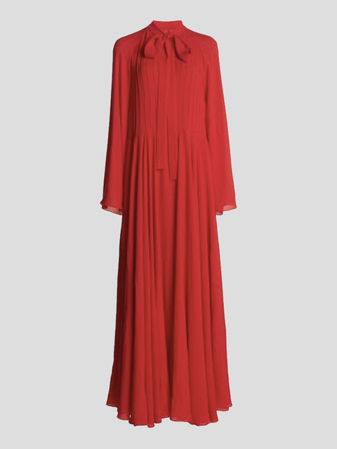 Long Sleeve Silk Crepe Tie Neck Maxi Dress