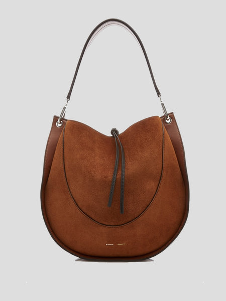 Suede and Leather Large Hobo Bag