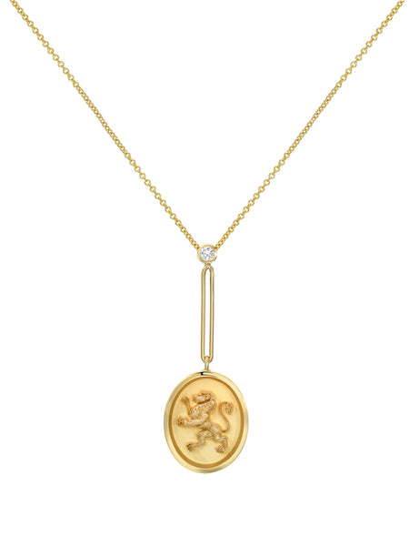 Large Grandfather Lion Medallion Necklace