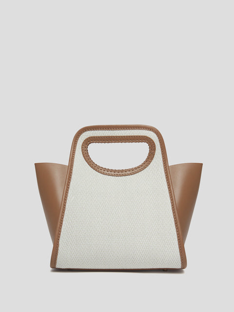 Small Cupidon Leather & Raffia Tote Bag