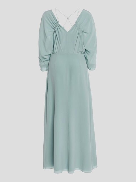 Ruched Sleeve V-Neck Midi Dress