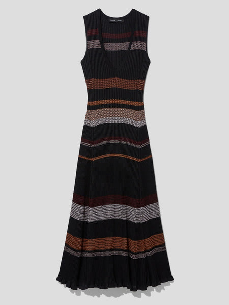 Sleeveless Viscose Zigzag Knit Midi Dress