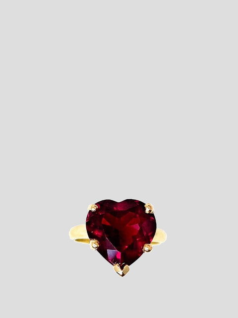 Red Rainbow Heart Solitaire Ring