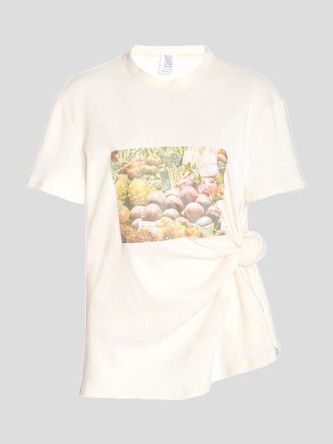 Short Sleeve Produce Print Knotted Tee
