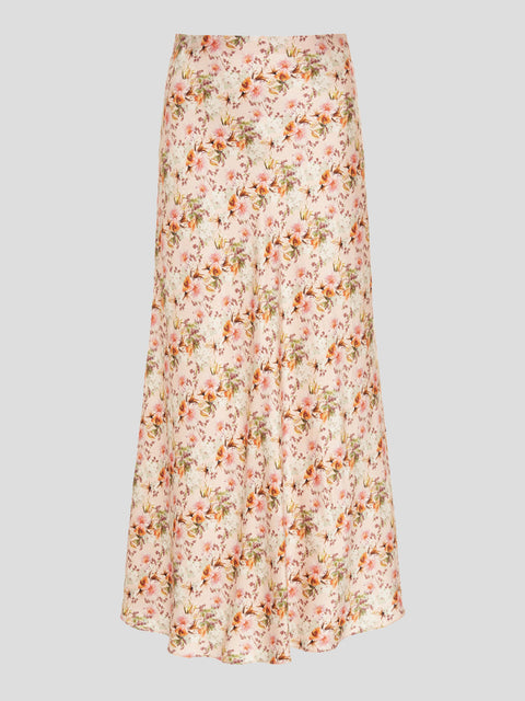 Piero Floral Satin Bias Midi Skirt