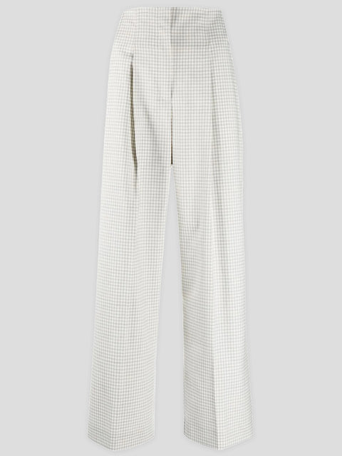Check Structured High-Waist Trousers