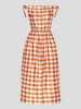 Dioneo Plaid Puff-Sleeve Asymmetric Dress