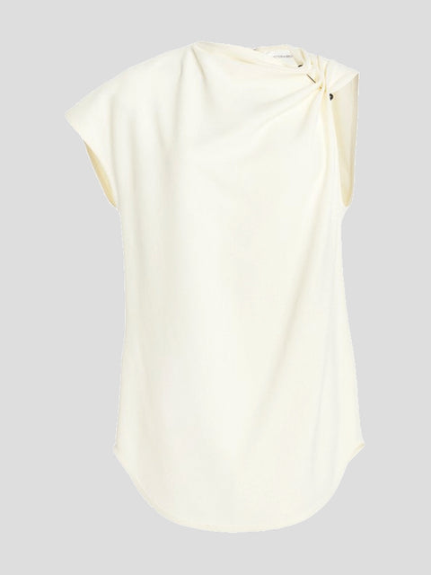 Side Draped Asymmetric Sleeve Top