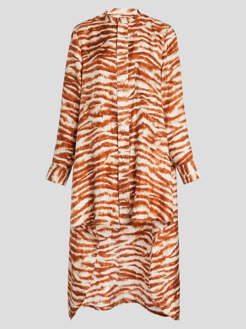 Thessaly Long Sleeve Printed Asymm Dress