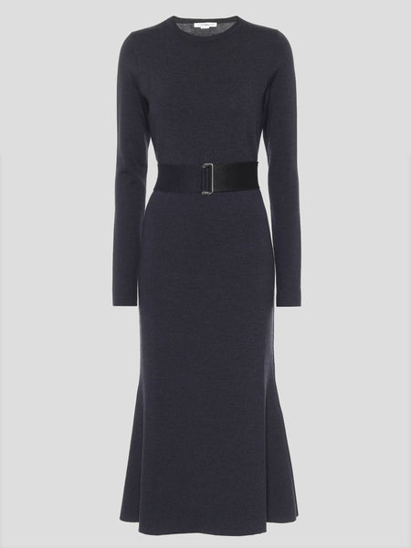 Belted Wool Midi Dress