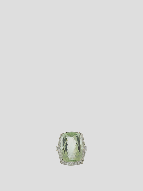 Adler Gold Prasiolite Diamond Ring