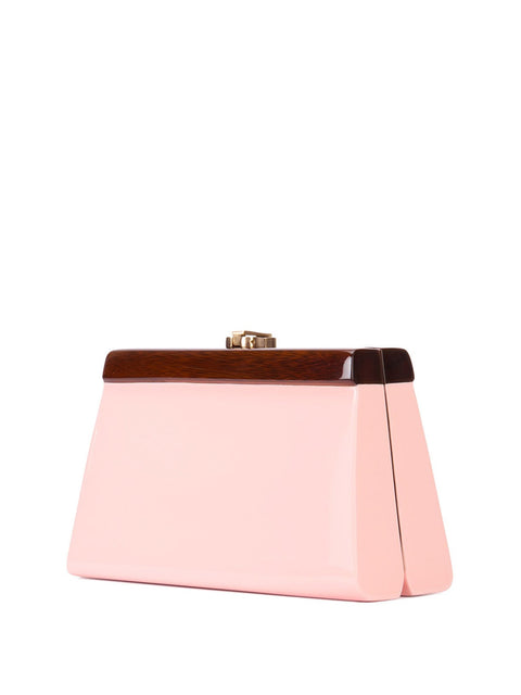 Cindy Clutch in Pink Lacquered Wood,Rocio,- Fivestory New York