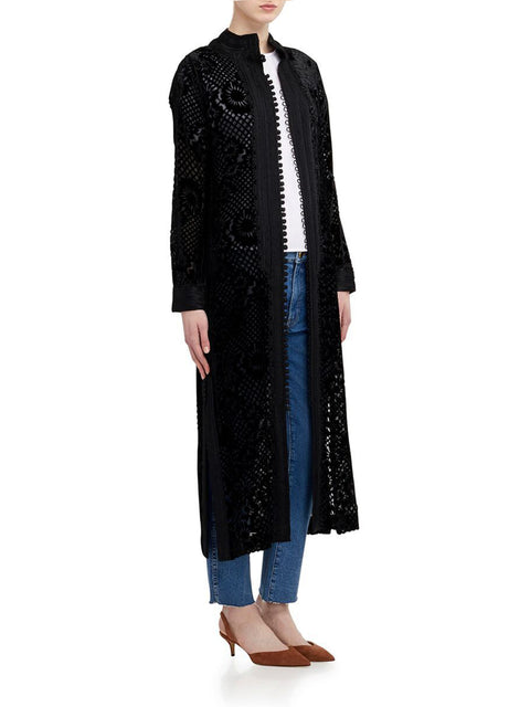 Long Burnout Caftan in Black Velvet