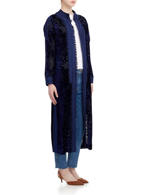Long Burnout Caftan in Navy Velvet